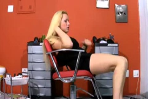 ideal blond tranny Poses In black costume And Wanks Off